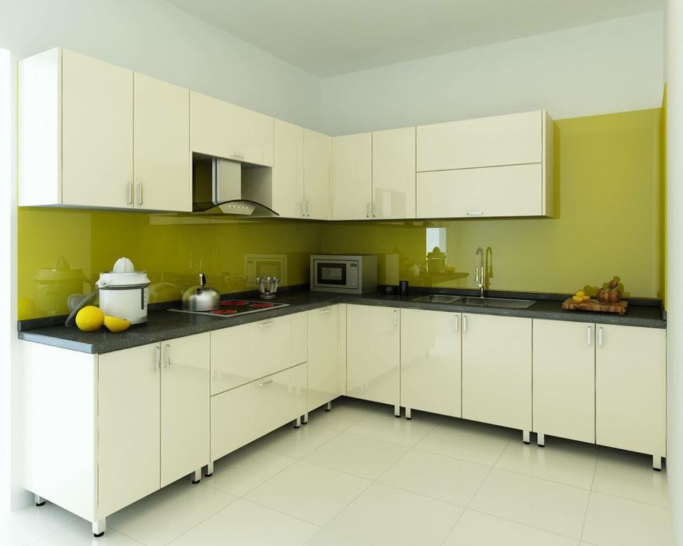 Mẫu 10 : Kính ốp bếp màu vàng chanh.