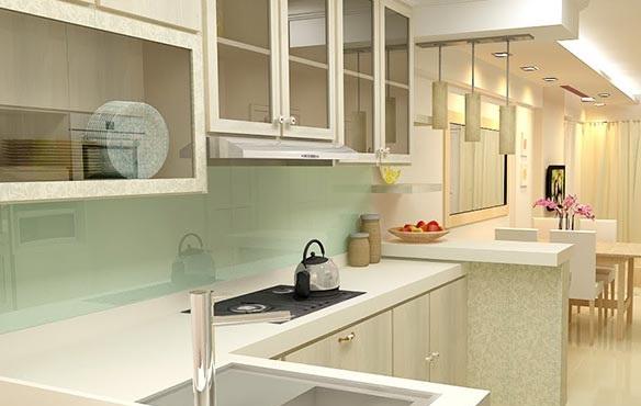 Mẫu 27 : Kính ốp bếp màu trắng sữa.